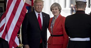 US president Donald Trump,  stands with Theresa May, UK prime minister, while arriving at the West Wing of the White House in Washington, DC. Photograph: Andrew Harrer/Bloomberg