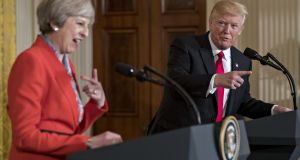 Trump bigs up Brexit at press conference with Theresa May