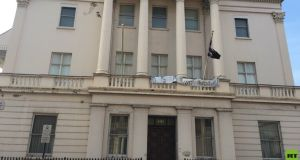The Eaton Square property bought by Andrey Goncharenko with a Autonomous Nation of Anarchist Libertarians flag outside. Photograph: Joana Ramiro/RT via Twitter