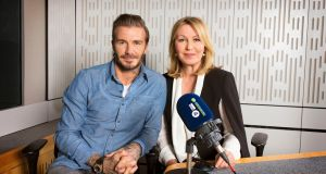 Kirsty Young with David Beckham as he joins Desert Island Discs for the programme's 75th anniversary edition on Sunday. Photograph: PA