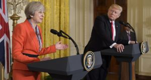Britain's prime minister Theresa May speaks during a joint press conference with US president Donald Trump in the East Room of the White House on January 27th. Photograph: Mandel Ngan/AFP/Getty Images