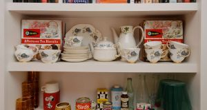Her mother's Arklow Pottery china tea set in the home of design historian Linda King in North Strand. Photograph: Alan Betson