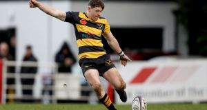 Alan Tynan: Young Munster teenage outhalf kicked 14 points in the victory over Lansdowne at Tom Clifford Park. Photograph: Tommy Dickson/Inpho