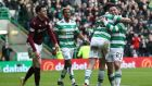 Patrick Roberts after scoring Celtic's third goal against Hearts. Photograph: Getty Images