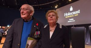 At the National Holocaust Memorial Day service in the Mansion House, Dublin,  on Sunday  night were second World War veteran Albert Sutton, who was at the liberation of Bergen/Belsen, and Holocaust survivor Suzi Diamond. Photograph: Dave Meehan