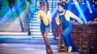 Banana skin: Thalia Heffernan leaves Dancing with the Stars in week four. Photograph: RTE