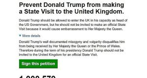 Screen grabbed image taken from the UK Government and Parliament site of a petition calling for US President Donald Trump's state visit to the UK to be called off which has been backed by over one million people. Photograph: Parliament UK/PA Wire