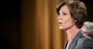 Sally Yates was fired from the role of acting attorney general after ordering the Justice Department not to defend US president Donald Trump's recent executive order blocking immigrants and refugees from seven predominantly Muslim narions from entering the United States. Photograph: Pete Marovich/Getty Images.
