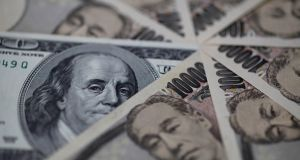 The dollar was at 113.73 yen, having fallen 1.1 per cent on Monday. Photograph: Reuters