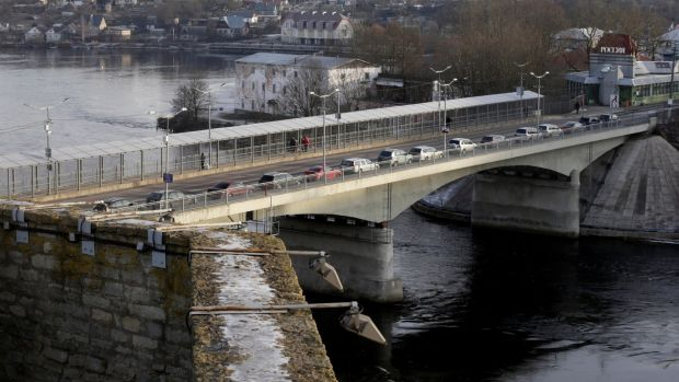 "Narva's river border is geographically neat, but messy in human terms. Fewer than half of the city's residents have Estonian citizenship; the rest are largely Russian or have ""grey passports"". Photograph: Ints Kalnins/Reuters"