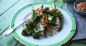 Charred  broccolini with smoky romesco sauce and toasted almonds
