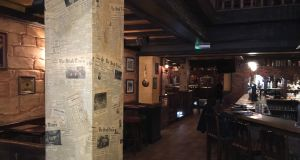 The Irish Times pub in Antwerp, Belgium has  old copies of The Irish Times on the walls, furniture  from John O'Connell's in Dunshaughlin Co Meath, and more than 20 Irish whiskeys on the list