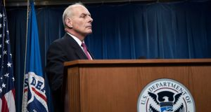US secretary of homeland security John Kelly  during a press conference on remarks on the Trump administration travel ban. Photograph: Shawn Thew/EPA