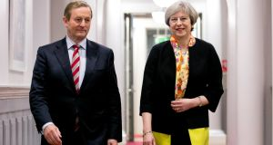 Enda Kenny and Theresa May in Dublin on Sunday. The Taoiseach said he and the British prime minister discussed the North but admitted he was unsure how  a soft Border can be achieved. Photograph: Reuters/Chris Bellew/Fennell Photography/Pool