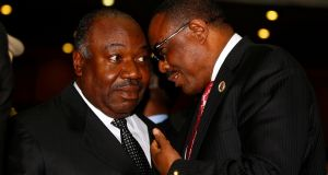Gabon's president Ali Bongo Ondimba with  Ethiopian prime minister Hailemariam Desalegn  at the  African Union summit in Addis Ababa, Ethiopia. Photograph: Tiksa Negeri/Reuters