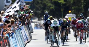Australia's Cameron Meyer   sprints for the line after breaking away in the Cadel Evans Great Ocean Road  in Geelong. Photograph: Mal Fairclough/AFP/Getty