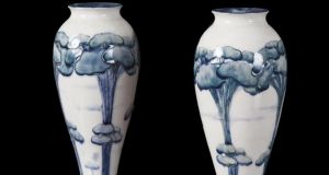 At Adam's attic sale, Lot 184, a pair of early 20th century English china vases, made by the Moorcroft art pottery in Burselm, Staffordshire, sold for €6,000