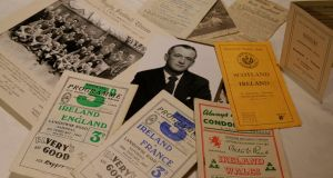 A portion of the archive of rugby material relating to Barney Mullan held by  his daughter, Alison Fergusson. Photograph: Nick Bradshaw