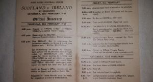 Players' itinerary for the Ireland match against   Scotland in the 1947 Five Nations. The material is held by is Barney Mullan's daughter Alison Fergusson. Photograph: Nick Bradshaw