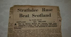 A newspaper report on Ireland's victory over Scotland in the 1947 Five Nations in which Barney Mullan scored the winning try. Photograph: Nick Bradshaw