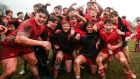Glenstal Abbey celebrate after defeating Rockwell College 18-0 in the Munster Schools Senior Cup quarter-final at Clanwilliam RFC, Tipperary. Photograph: Inpho