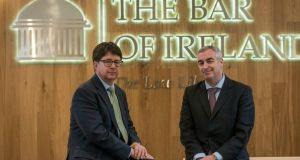 US attorney Dean Strang and Paul McGarry SC, chairman of the Bar of Ireland, at the launch of the Bar of Ireland's 2017 Innocence Project scholarships at the Law Library, Dublin. Photograph: Brenda Fitzsimons/The Irish Times