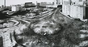 Protest Crowd, Tahrir Square, 2013, by Joy Gerrard. Image courtesy of the artist