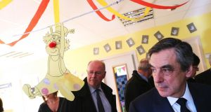 "François Fillon: The presidential candidate  visits a  creche in Poix-Terron on Thursday even as the ""Penelope-gate"" investigation was expanded to include his two children. Photograph: François Nascimbeni/AFP/Getty Images"