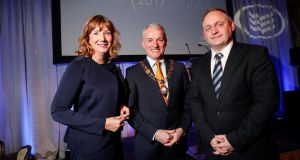 Dublin Chamber chief executive Mary Rose Burke, Grant Thornton partner Brendan Foster and Bord na Mona chief executive Mike Quinn. Photograph: Conor McCabe Photography
