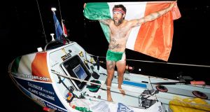 Atlantic rower Gavan Hennigan after he set an Irish record for a solo Atlantic ocean row. Photograph: Ben Duffy/PA Wire