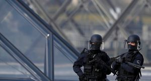 One French soldier was slightly injured in the incident. Photograph: Christian Hartmann/Reuters