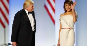 President Donald Trump introduces first lady Melania Trump at the Freedom Inaugural Ball at the Washington Convention Center January 20, 2017 in Washington, D.C. Photograph: Aaron P. Bernstein/Getty Images
