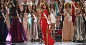 Miss Universe candidate Keity Drennan of Panama walks on stage during the finals of the Miss Universe at the Mall of Asia Arena in Manila on January 30, 2017. Photograph: Ted Aljibe/AFP/Getty Images