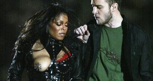 Justin Timberlake performs with Janet Jackson during the half-time show at Super Bowl XXXVIII between the New England Patriots and the Carolina Panthers in 2004 in Houston, Texas. Photograph: Donald Miralle/Getty Images