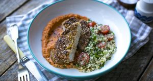 Dukkah pork with roast red pepper hummus and preserved lemon tabbouleh