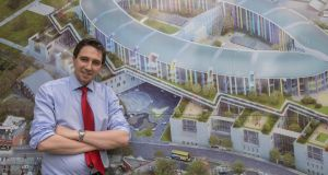 Minister for Health Simon Harris marks the commencement of phase one of construction of the new children's hospital at St James's. Photograph: Brenda Fitzsimons