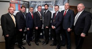 From left: Senator Jerry Buttimer; Minister of State Dara Murphy; Willis Towers Watson's Brian Curtis; Lord Mayor Cllr Des Cahill; Minister of State Eoghan Murphy; president of Cork Chamber of Commerce Barrie O'Connell; Willis Towers Watson's Eoin Motherway; and Ray O'Connor of IDA Ireland.  Photograph: Jim Coughlan.