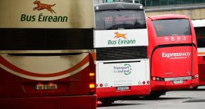 Bus Éireann buses in Busáras, Dublin. The company faces losing up to €125,000 per day in State funding if a planned all-out strike by staff goes ahead. Photograph: Dara Mac Dónaill/The Irish Times