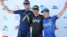 Conor Dunne (left) on the podium after stage two of the Jayco Herald Sun Tour in Australia. Photograph: Con Chronis.