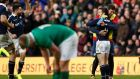 Scotland's Greig Laidlaw celebrates his team's victory. Photograph: Reuters