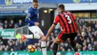 Everton's James McCarthy scores his side's second goal in the Premier League match against Bournemouth at Goodison Park. Photograph: Martin Rickett/PA Wire