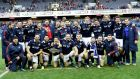 The Scotland team celebrate with the Quaich trophy. Photograph: Dan Sheridan/Inpho