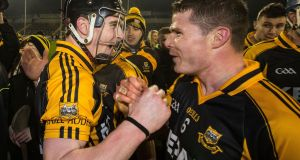 Ballyea's Tony Kelly celebrates with Paul Flanagan after their semi-final victory. Photograph: Cathal Noonan/Inpho
