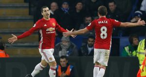 Henrikh Mkhitaryan's opener helped Manchester United to an easy 3-0 win over Leicester City. Photograph: Reuters/Darren Staples
