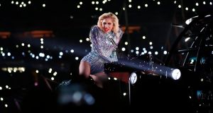Lady Gaga performs during halftime at Super Bowl in  Houston on Sunday. Photograph: Doug Mills/The New York Times