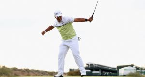 Hideki Matsuyama of Japan celebrates after winning the Waste Management Phoenix Open. Photograph: Christian Petersen/Getty Images