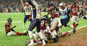 James White of the New England Patriots scores the game winning touchdown in overtime against the Atlanta Falcons during Super Bowl 51 at NRG Stadium. Photograph: Getty Images