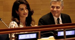 Amal and George Clooney attend a Leaders' Summit for Refugees at the United Nations General Assembly in New York last September. She has been nominated for the Tipperary Peace Prize.  Photograph: Peter Foley/Getty Images