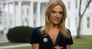 Kellyanne Conway has berated the media for not covering a fictitious massacre. Photograph: Mark Wilson/Getty Images