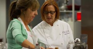 Not even  tips from patisserie expert Claire Clark could keep Evelyn Cusack in the Celebrity MasterChef kitchen this week. Photograph: TV3